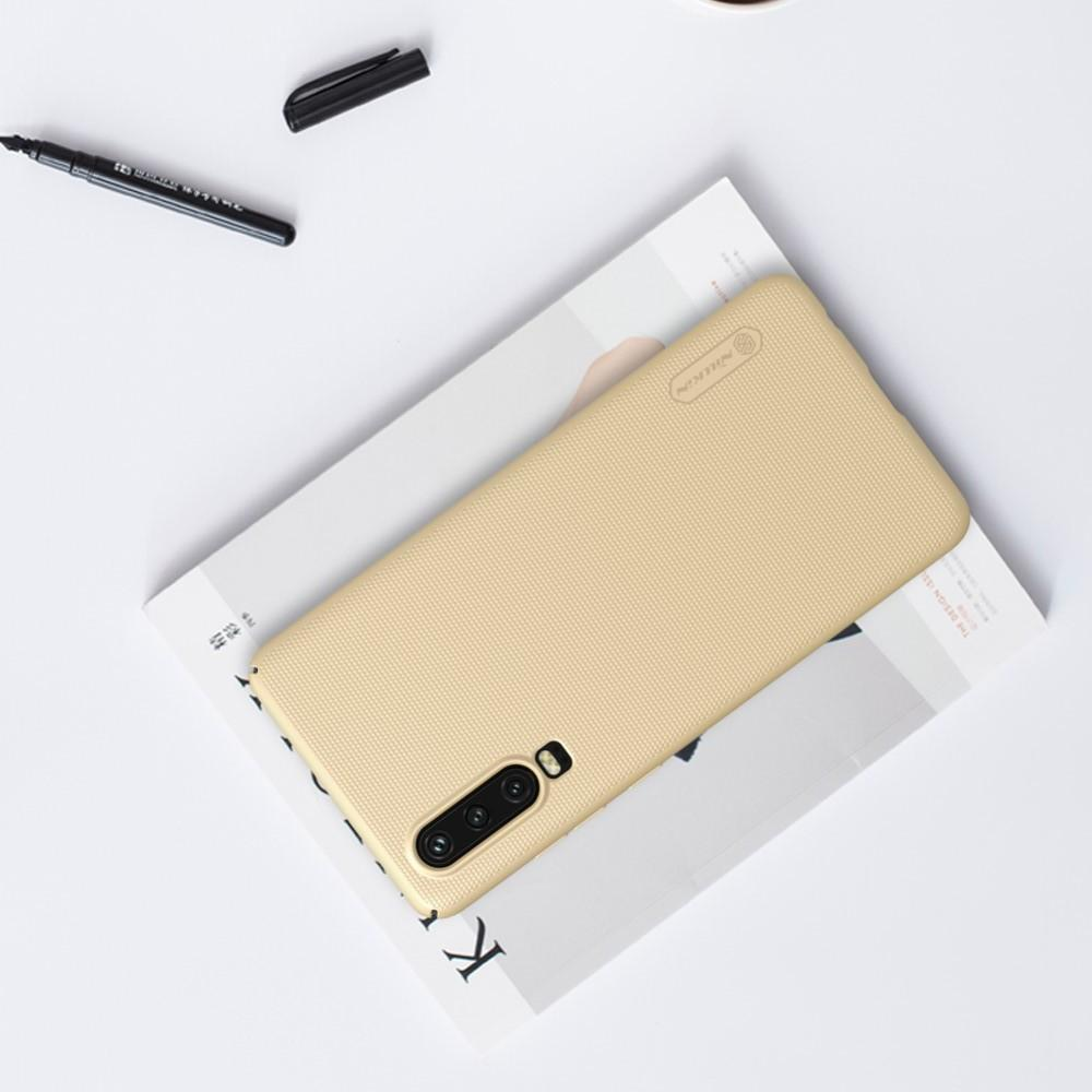 Пластиковый нескользящий NILLKIN Frosted кейс чехол для Huawei P30 Золотой + подставка