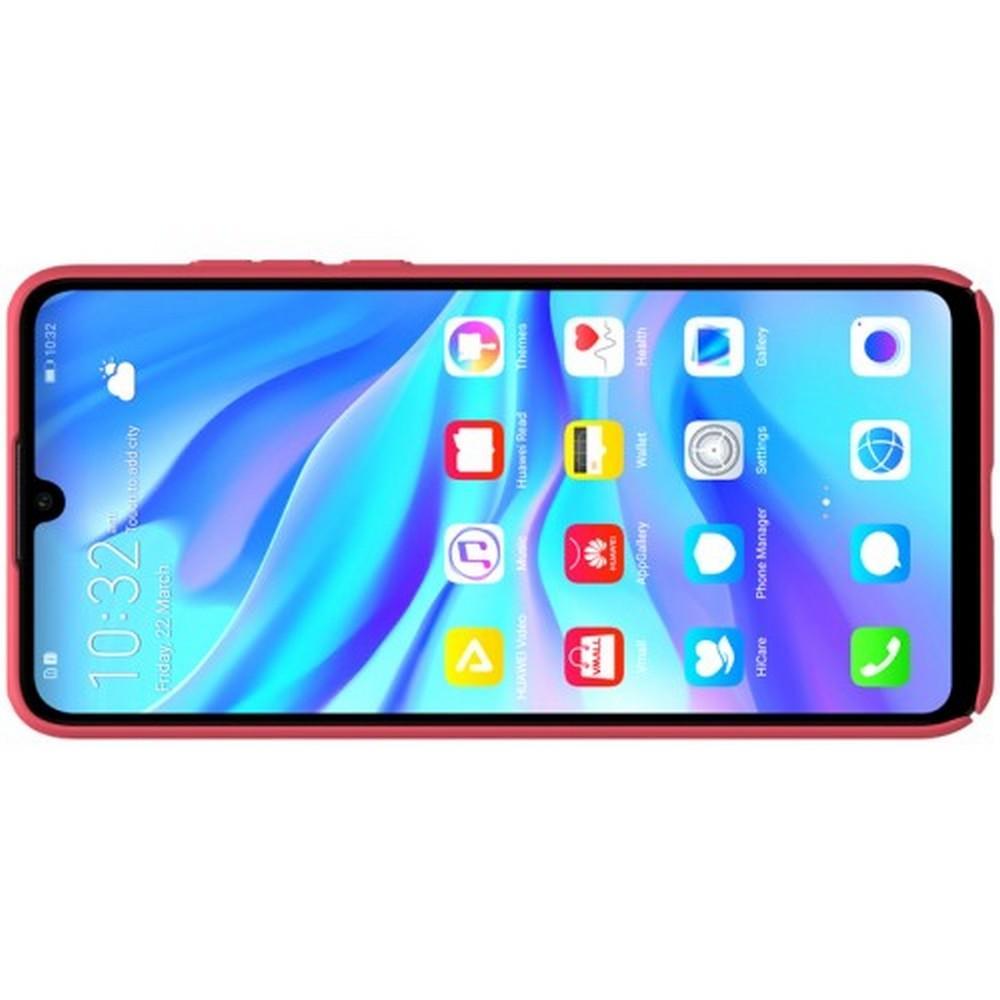 Пластиковый нескользящий NILLKIN Frosted кейс чехол для Huawei P30 Lite Красный + подставка