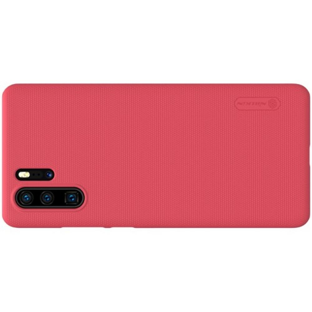 Пластиковый нескользящий NILLKIN Frosted кейс чехол для Huawei P30 Pro Красный + подставка