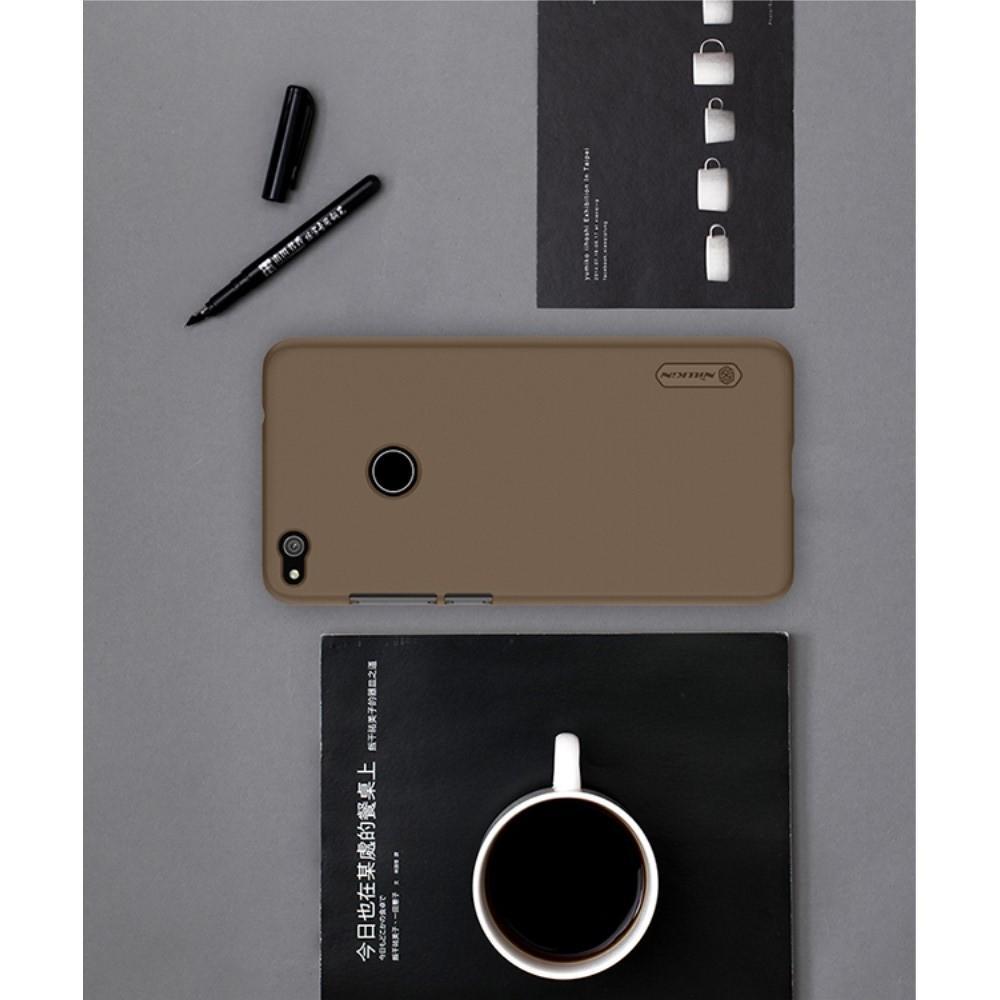 Пластиковый нескользящий NILLKIN Frosted кейс чехол для Huawei P8 Lite (2017) / Honor 8 Lite Золотой + подставка