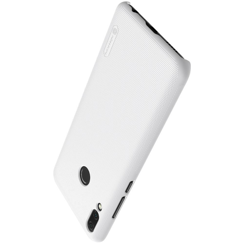 Пластиковый нескользящий NILLKIN Frosted кейс чехол для Huawei Y9 2019 Белый + защитная пленка