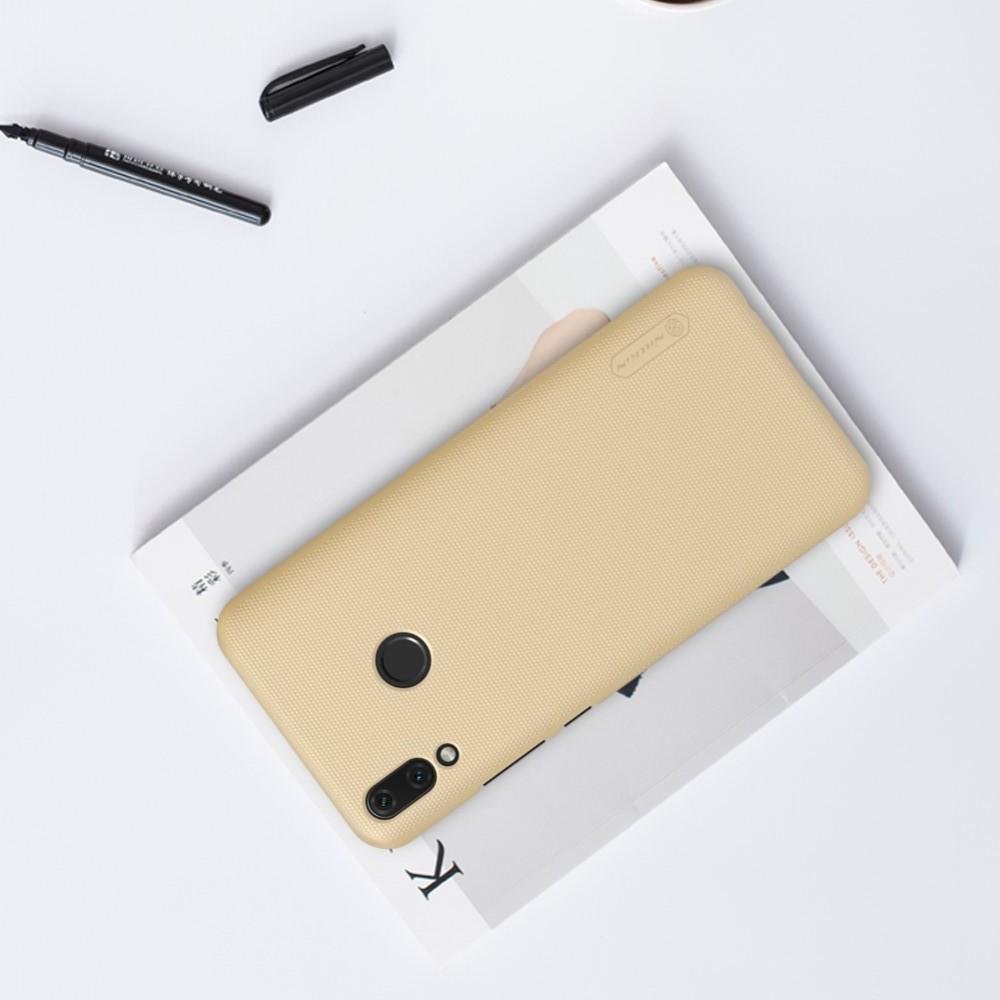 Пластиковый нескользящий NILLKIN Frosted кейс чехол для Huawei Y9 2019 Золотой + защитная пленка
