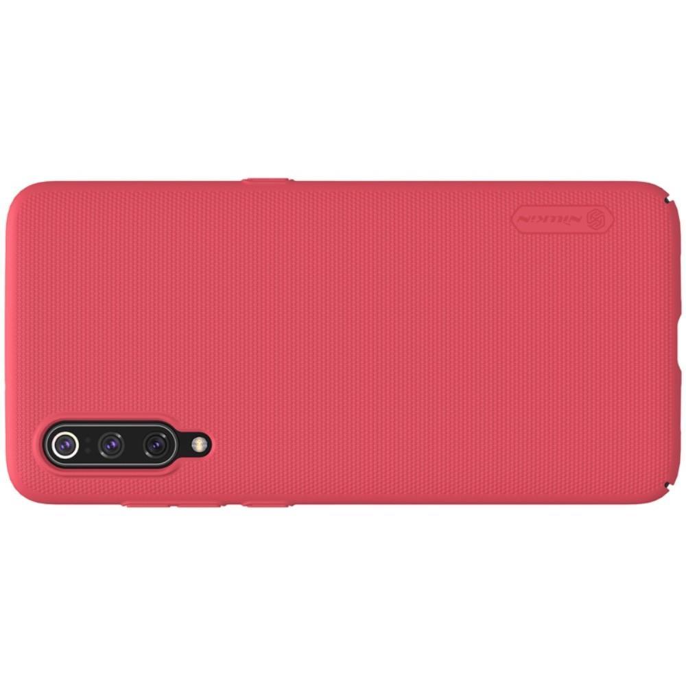 Пластиковый нескользящий NILLKIN Frosted кейс чехол для Xiaomi Mi 9 Красный + подставка