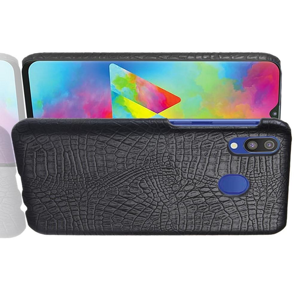 Пластиковый Жесткий Клип Кейс Футляр Искусственно Кожаный Чехол для Samsung Galaxy A20e Черный