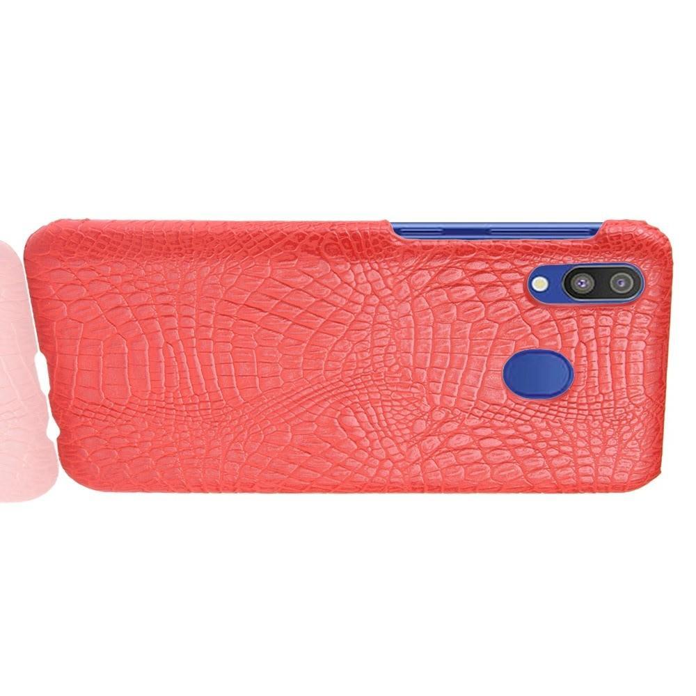 Пластиковый Жесткий Клип Кейс Футляр Искусственно Кожаный Чехол для Samsung Galaxy A20e Красный