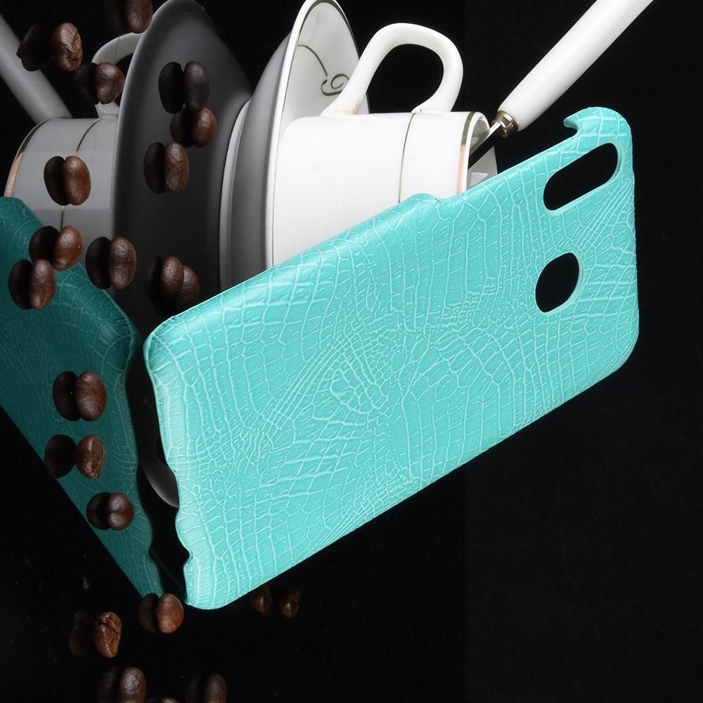 Пластиковый Жесткий Клип Кейс Футляр Искусственно Кожаный Чехол для Samsung Galaxy A20e Голубой