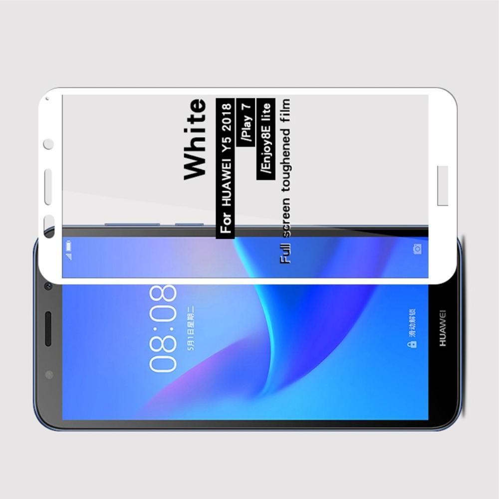Полноэкранное Закаленное Олеофобное DF Full Screen Защитное Стекло Белое для Huawei Y5 2018 / Y5 Prime 2018 / Honor 7A