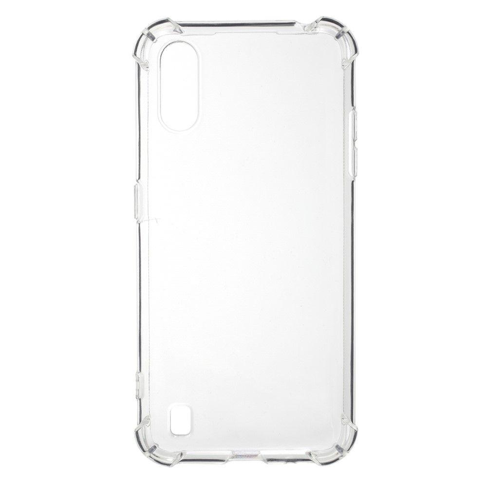 Противоударный прозрачный кейс с силиконовым бампером для Samsung Galaxy A01 Прозрачный