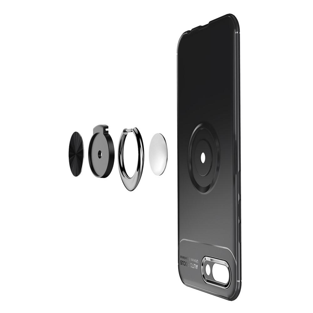 Силиконовый Чехол для Магнитного Держателя с Кольцом для Пальца Подставкой для Huawei Honor 10 Черный