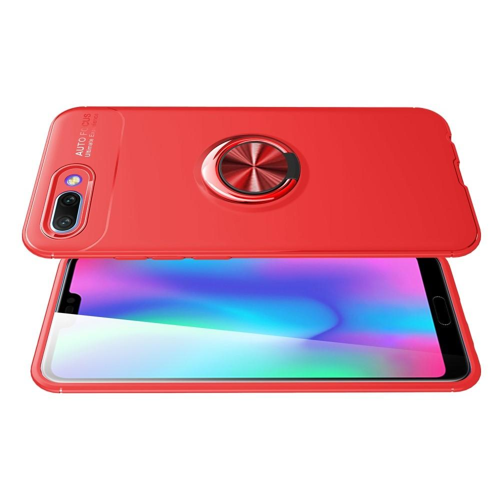 Силиконовый Чехол для Магнитного Держателя с Кольцом для Пальца Подставкой для Huawei Honor 10 Красный