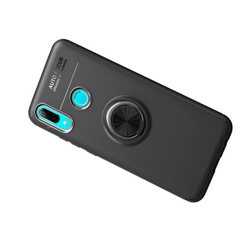 Силиконовый Чехол для Магнитного Держателя с Кольцом для Пальца Подставкой для Huawei Honor 10 Lite Черный