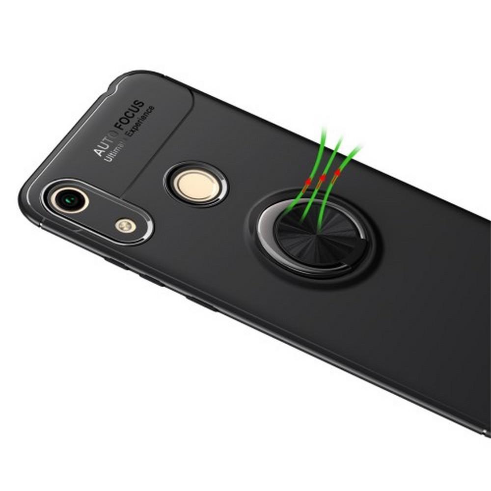 Силиконовый Чехол для Магнитного Держателя с Кольцом для Пальца Подставкой для Huawei Honor 8A Черный