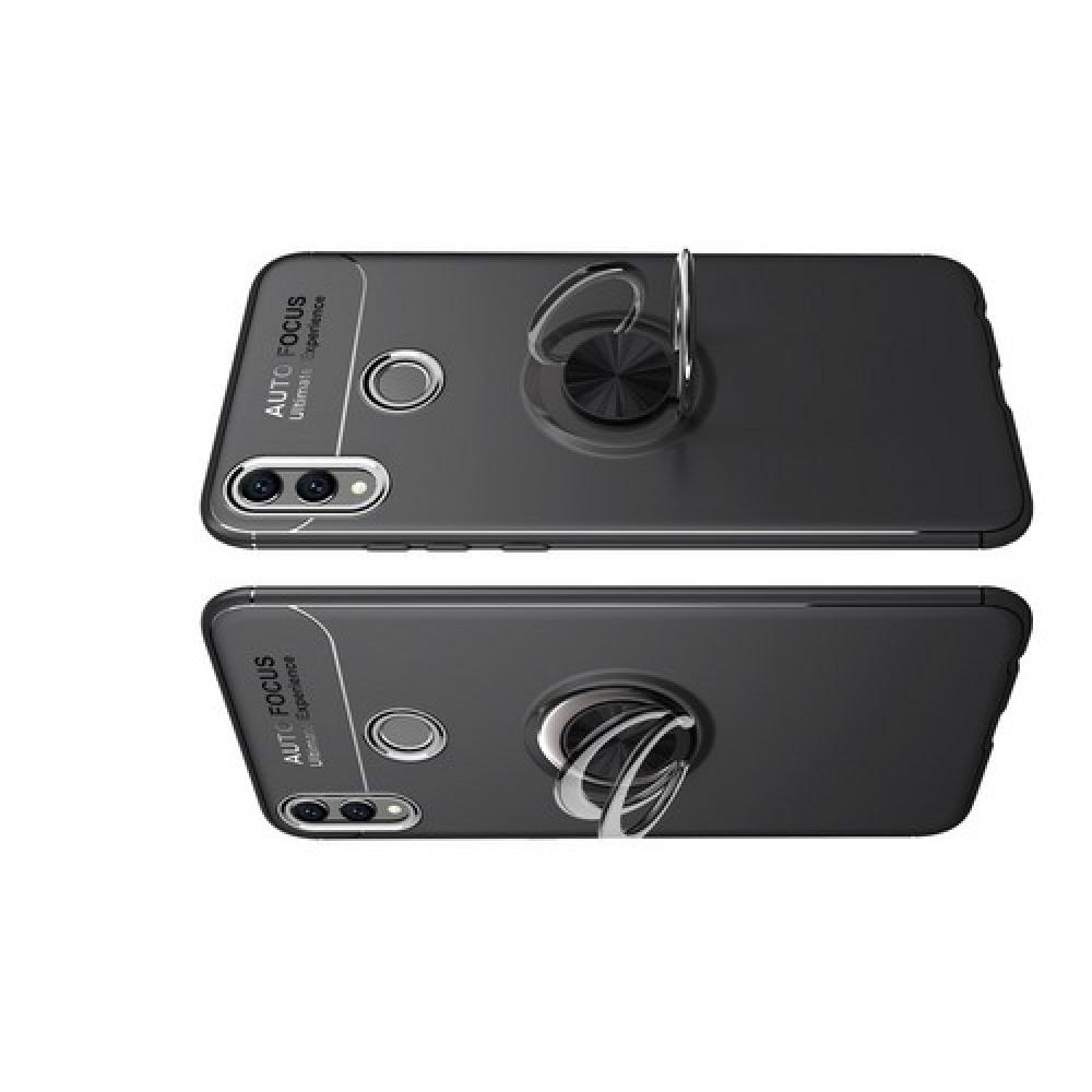Силиконовый Чехол для Магнитного Держателя с Кольцом для Пальца Подставкой для Huawei Honor 8X Черный