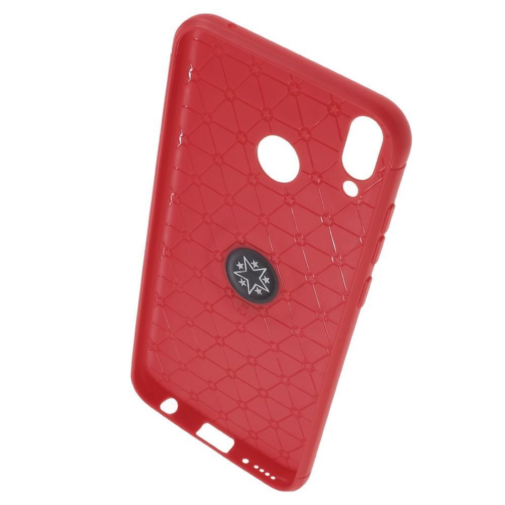 Силиконовый Чехол для Магнитного Держателя с Кольцом для Пальца Подставкой для Huawei Honor Play Красный