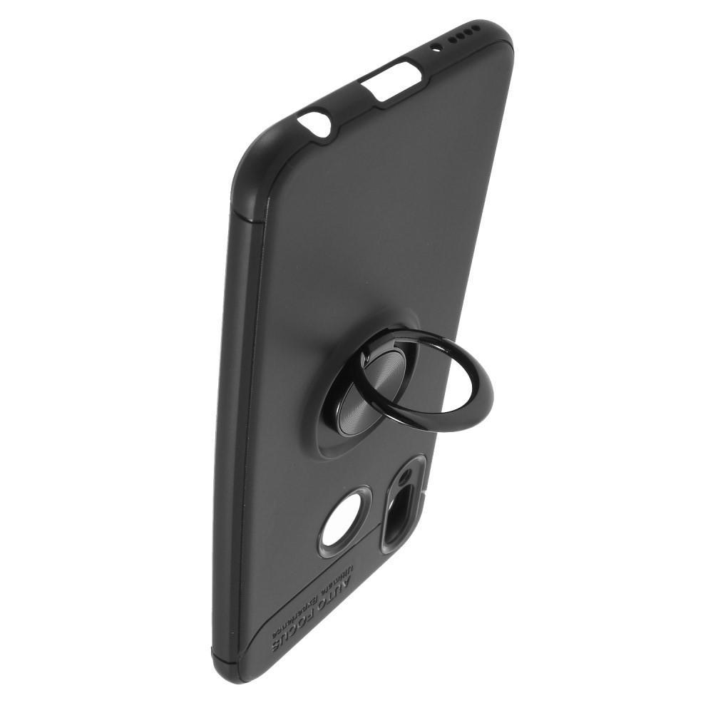 Силиконовый Чехол для Магнитного Держателя с Кольцом для Пальца Подставкой для Huawei Honor Play Черный