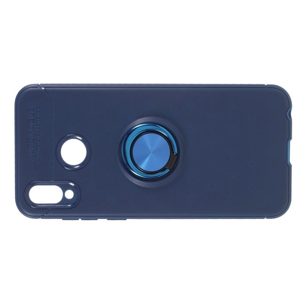 Силиконовый Чехол для Магнитного Держателя с Кольцом для Пальца Подставкой для Huawei Honor Play Синий