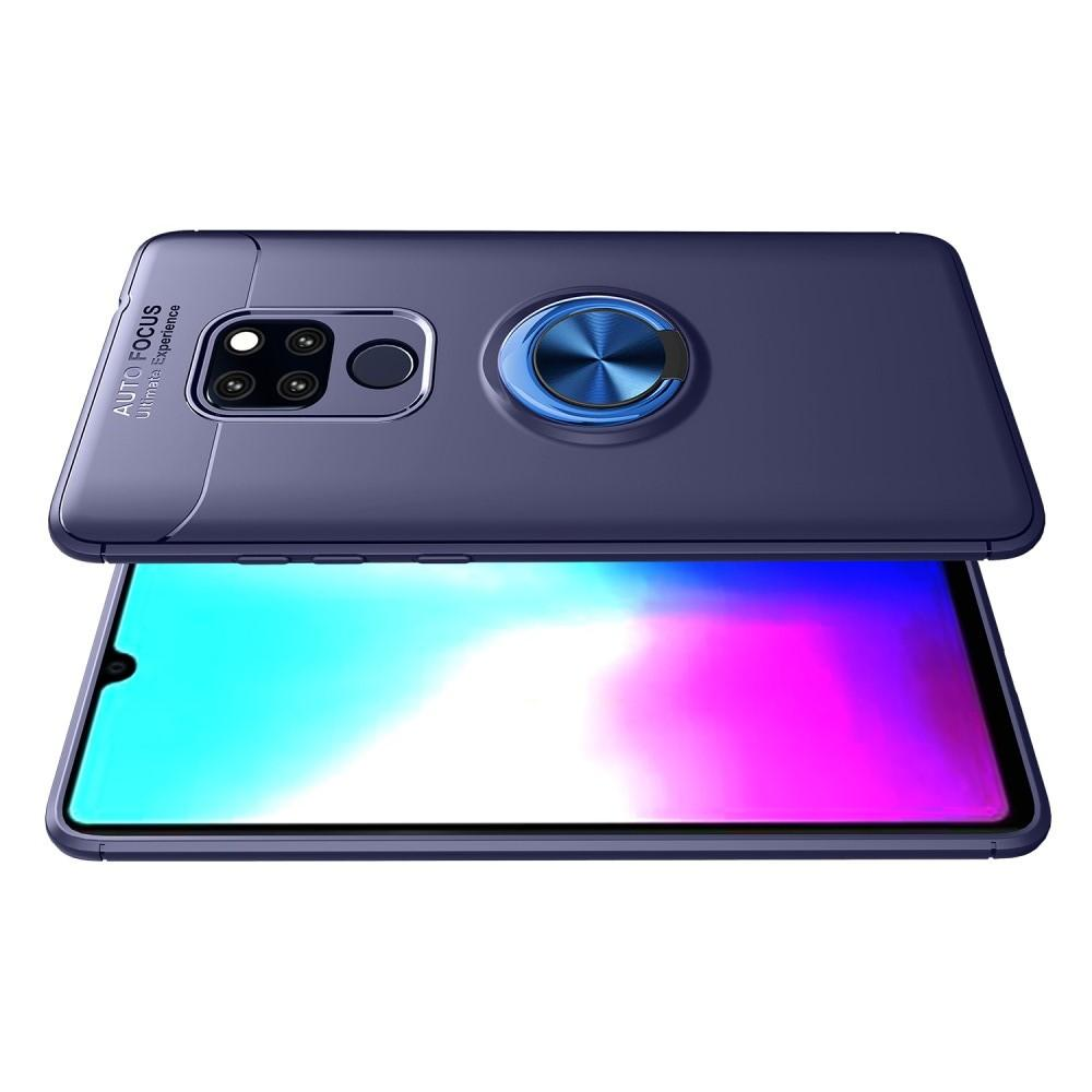 Силиконовый Чехол для Магнитного Держателя с Кольцом для Пальца Подставкой для Huawei Mate 20 Синий