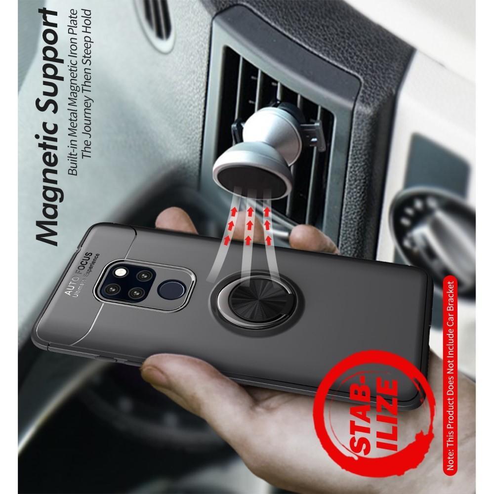 Силиконовый Чехол для Магнитного Держателя с Кольцом для Пальца Подставкой для Huawei Mate 20 Черный