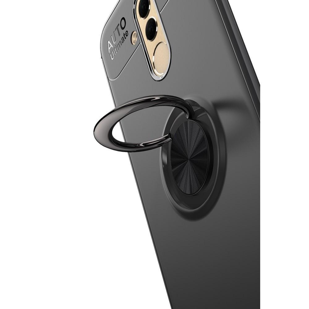 Силиконовый Чехол для Магнитного Держателя с Кольцом для Пальца Подставкой для Huawei Mate 20 Lite Черный