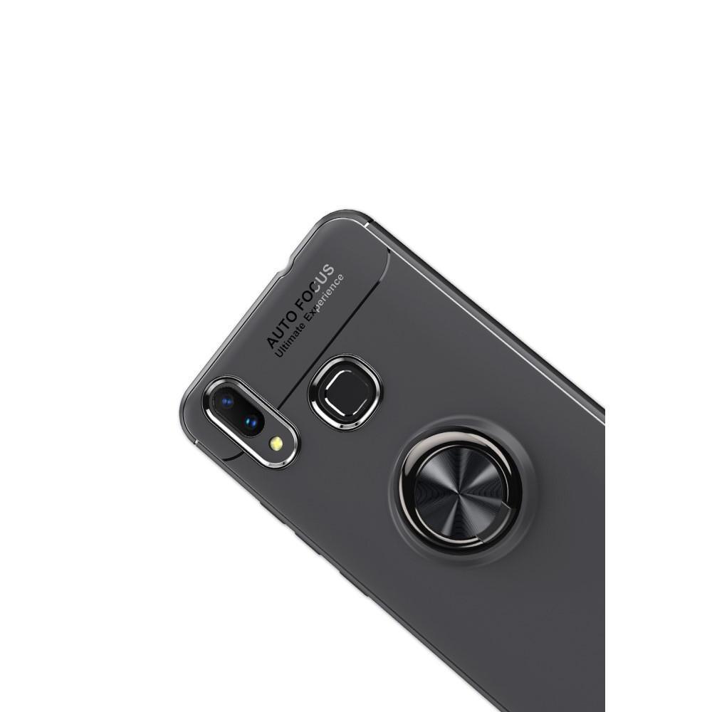 Силиконовый Чехол для Магнитного Держателя с Кольцом для Пальца Подставкой для Huawei nova 3 Черный