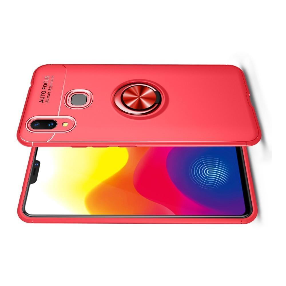 Силиконовый Чехол для Магнитного Держателя с Кольцом для Пальца Подставкой для Huawei nova 3 Красный