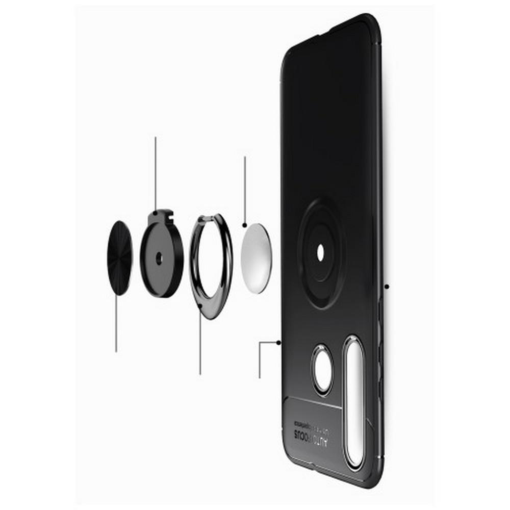 Силиконовый Чехол для Магнитного Держателя с Кольцом для Пальца Подставкой для Huawei Nova 4 Красный