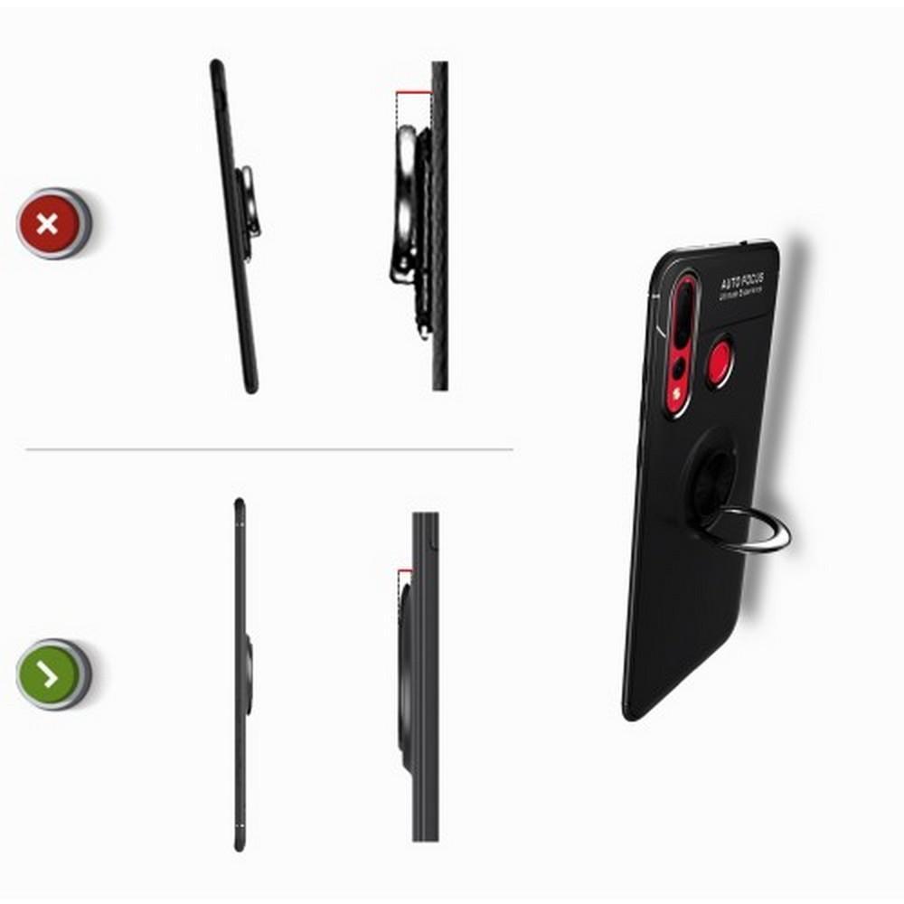 Силиконовый Чехол для Магнитного Держателя с Кольцом для Пальца Подставкой для Huawei Nova 4 Черный