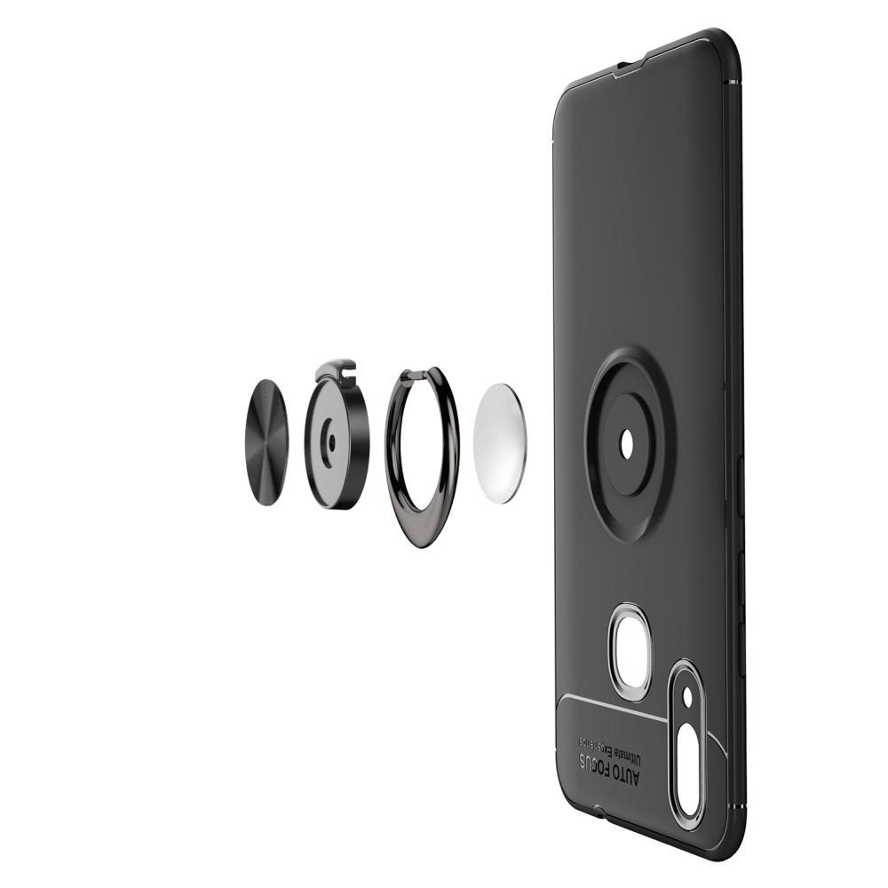 Силиконовый Чехол для Магнитного Держателя с Кольцом для Пальца Подставкой для Huawei P smart+ / Nova 3i Черный