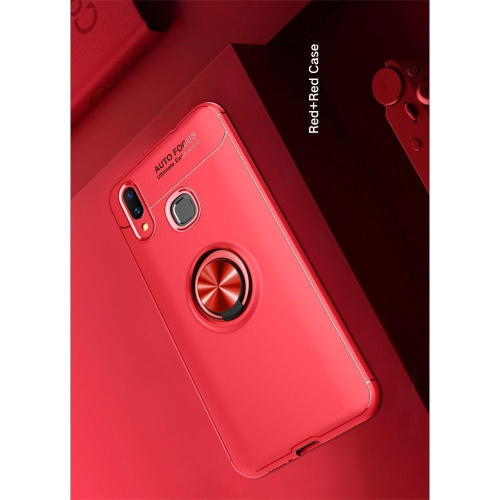 Силиконовый Чехол для Магнитного Держателя с Кольцом для Пальца Подставкой для Huawei P smart+ / Nova 3i Красный