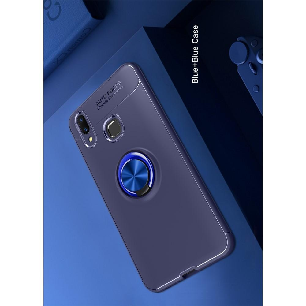 Силиконовый Чехол для Магнитного Держателя с Кольцом для Пальца Подставкой для Huawei P smart+ / Nova 3i Синий