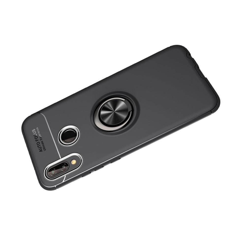 Силиконовый Чехол для Магнитного Держателя с Кольцом для Пальца Подставкой для Huawei P20 lite Черный