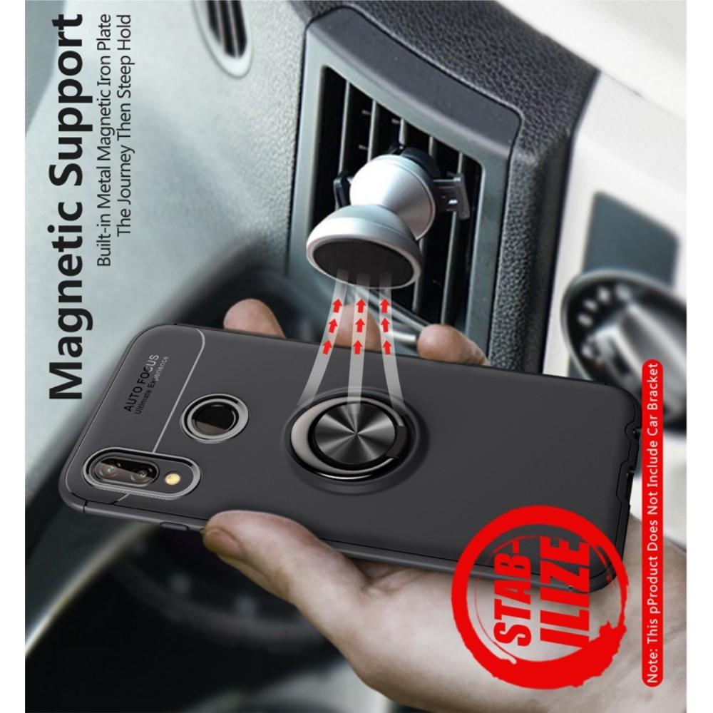 Силиконовый Чехол для Магнитного Держателя с Кольцом для Пальца Подставкой для Huawei P20 lite Красный