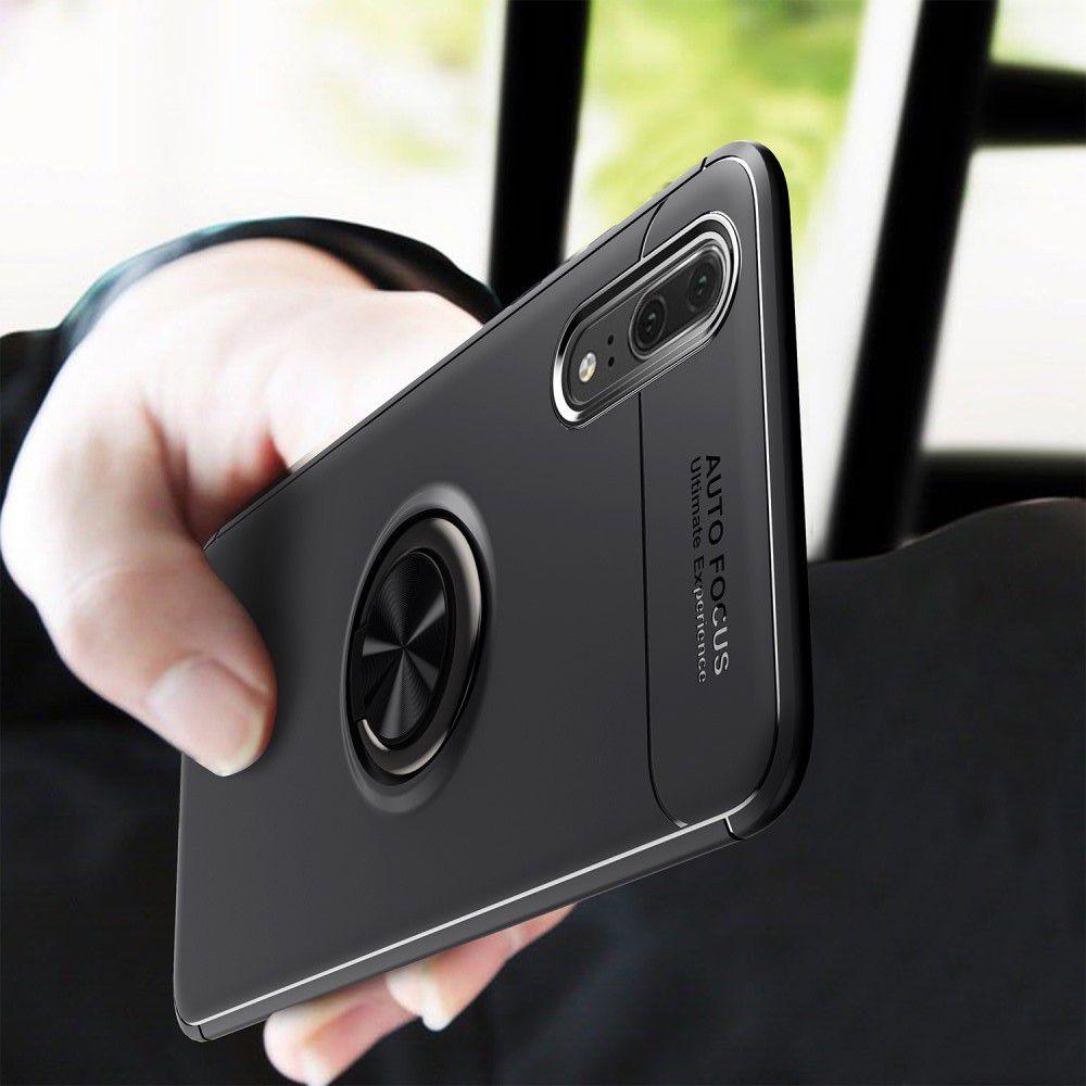 Силиконовый Чехол для Магнитного Держателя с Кольцом для Пальца Подставкой для Huawei P20 Pro Черный