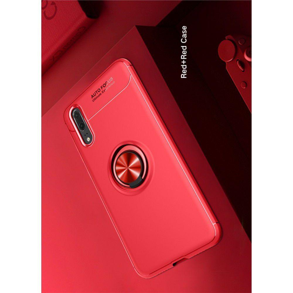 Силиконовый Чехол для Магнитного Держателя с Кольцом для Пальца Подставкой для Huawei P20 Pro Красный