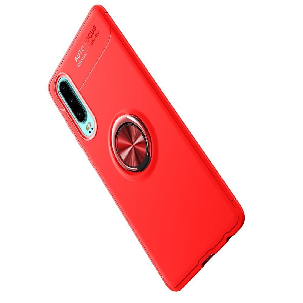 Силиконовый Чехол для Магнитного Держателя с Кольцом для Пальца Подставкой для Huawei P30 Красный