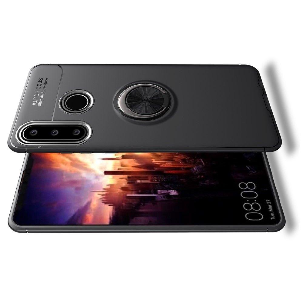 Силиконовый Чехол для Магнитного Держателя с Кольцом для Пальца Подставкой для Huawei P30 Lite Черный