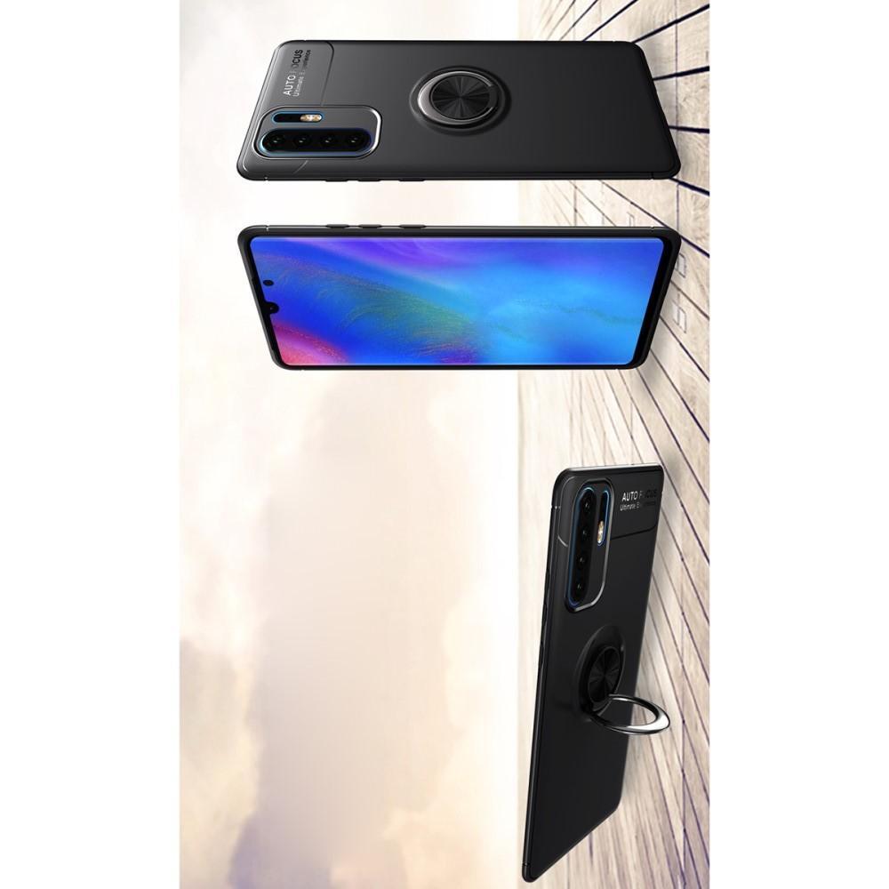 Силиконовый Чехол для Магнитного Держателя с Кольцом для Пальца Подставкой для Huawei P30 Pro Черный