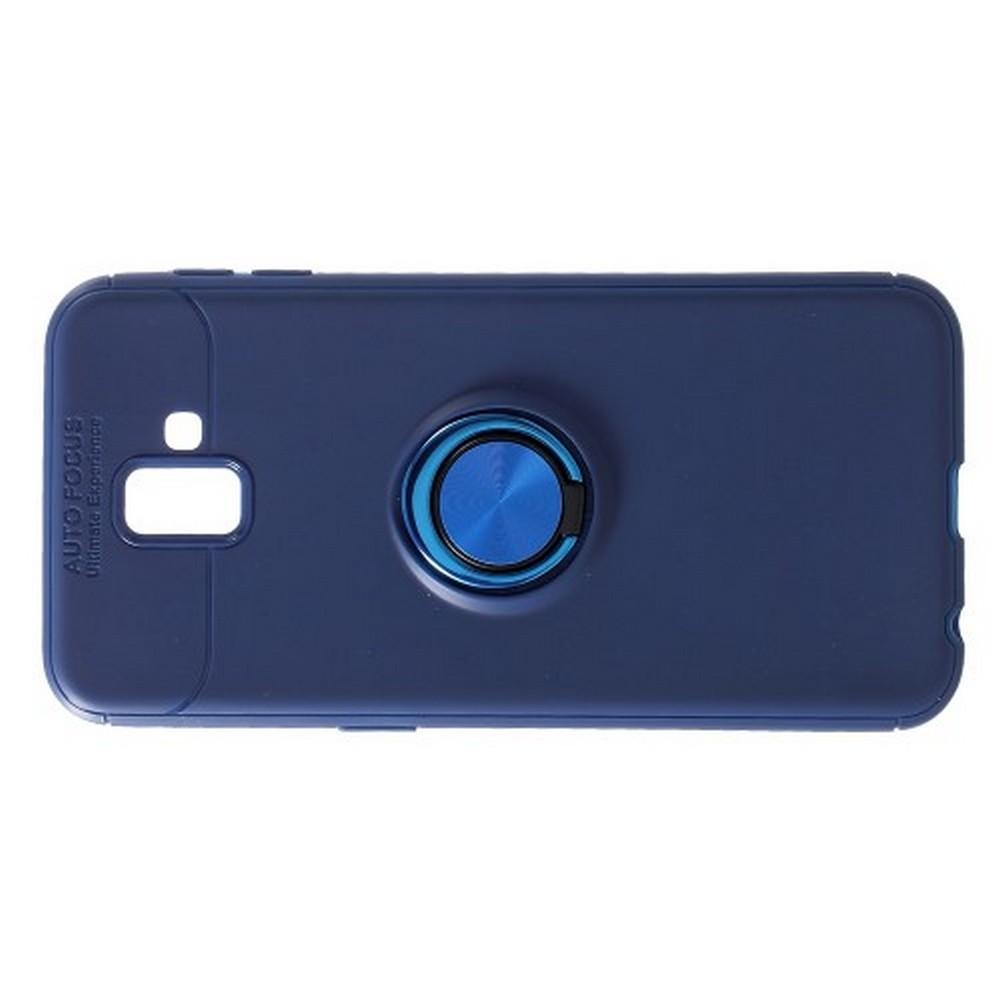 Силиконовый Чехол для Магнитного Держателя с Кольцом для Пальца Подставкой для Samsung Galaxy J6 Plus 2018 SM-J610F Синий