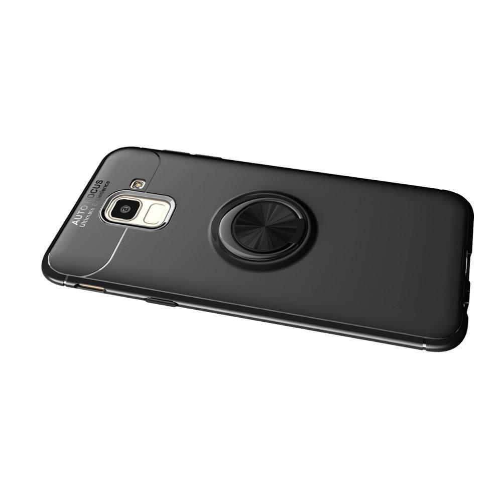 Силиконовый Чехол для Магнитного Держателя с Кольцом для Пальца Подставкой для Samsung Galaxy J6 SM-J600 Синий