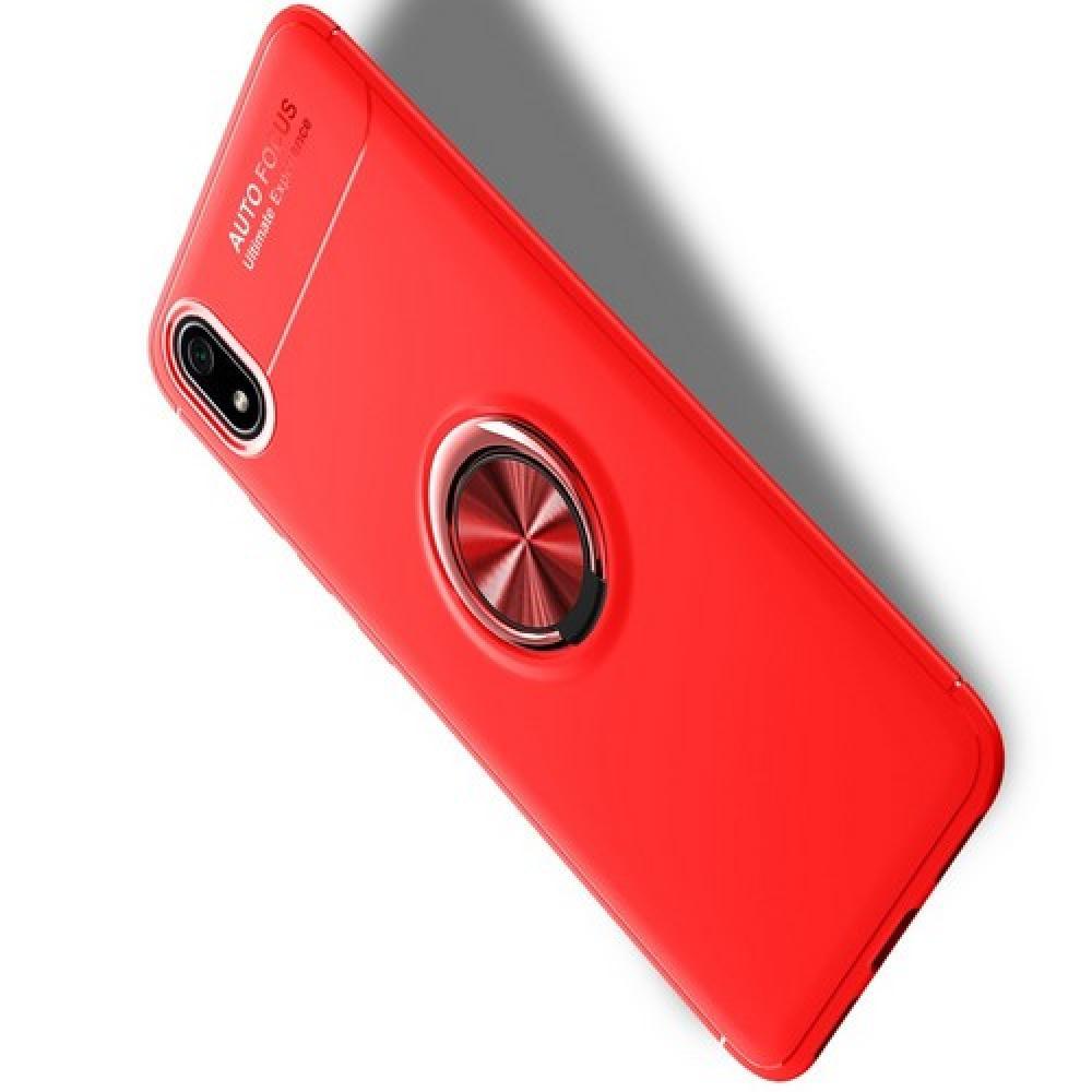 Силиконовый Чехол для Магнитного Держателя с Кольцом для Пальца Подставкой для Xiaomi Redmi 7A Красный