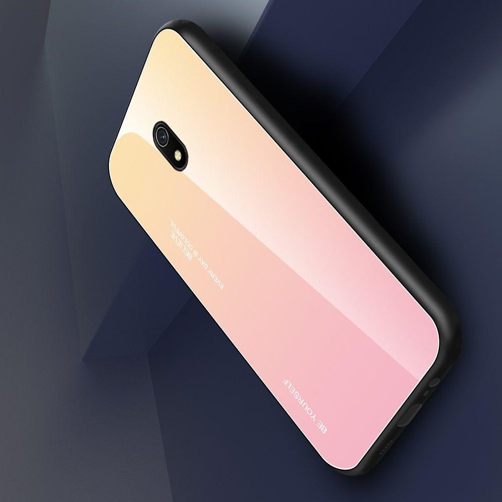 Силиконовый Стеклянный Золотой / Розовый Градиентный Корпус Чехол для Телефона Xiaomi Redmi 8A