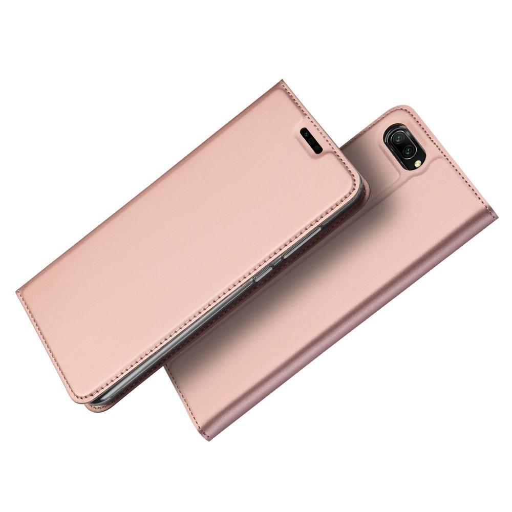 Тонкий Флип Чехол Книжка с Скрытом Магнитом и Отделением для Карты для Huawei Honor 10 Розовое Золото