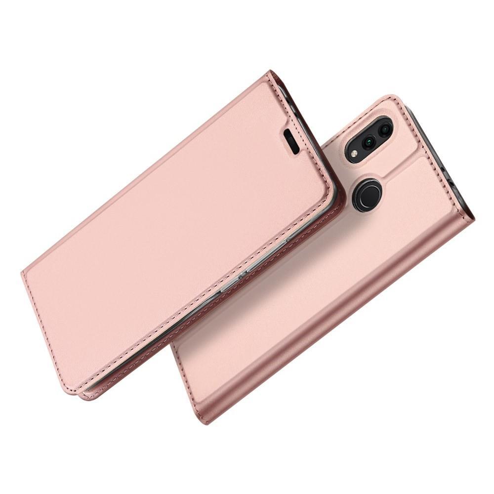Тонкий Флип Чехол Книжка с Скрытым Магнитом и Отделением для Карты для Huawei Honor 8C Розовое Золото