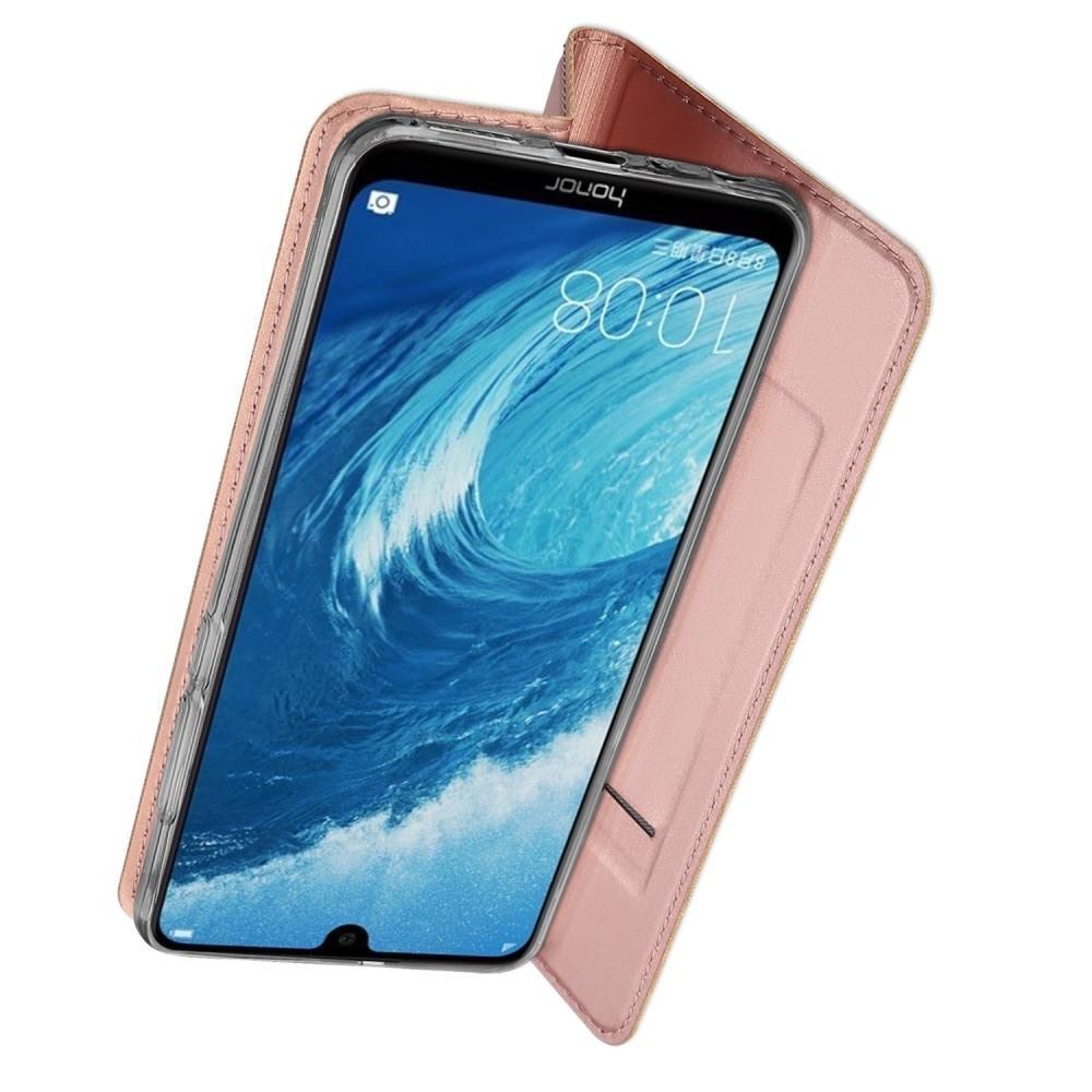 Тонкий Флип Чехол Книжка с Скрытым Магнитом и Отделением для Карты для Huawei Honor 8X Розовое Золото