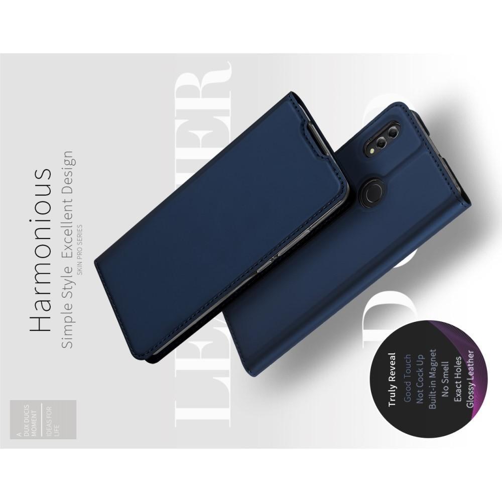 Тонкий Флип Чехол Книжка с Скрытым Магнитом и Отделением для Карты для Huawei Honor 8X Синий