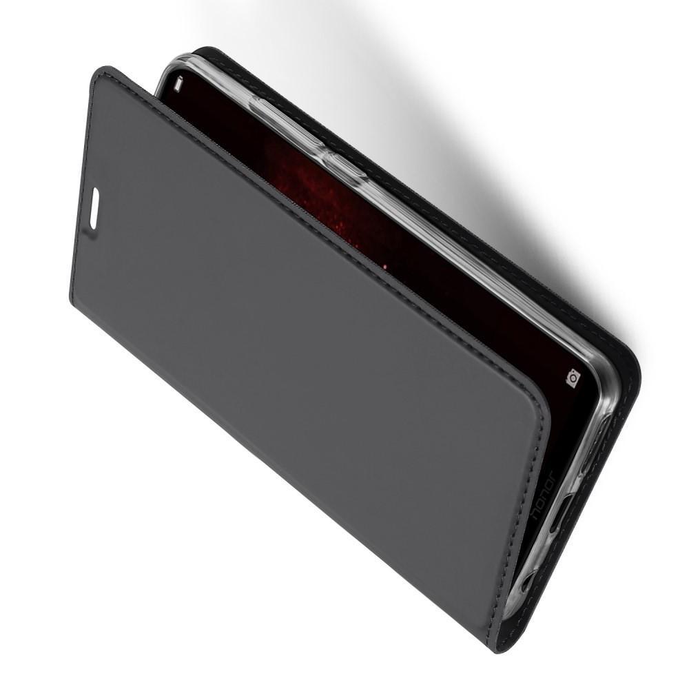 Тонкий Флип Чехол Книжка с Скрытым Магнитом и Отделением для Карты для Huawei Honor Play Черный
