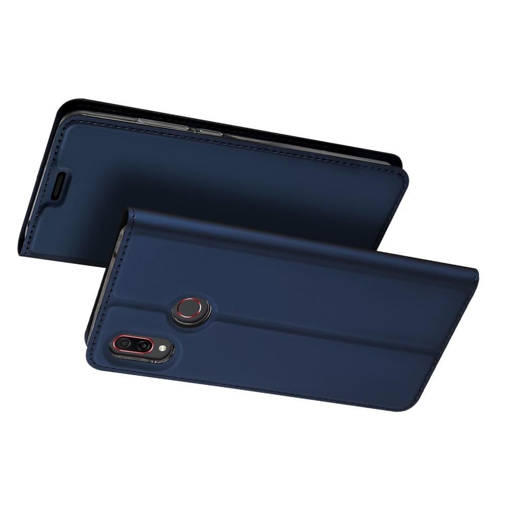 Тонкий Флип Чехол Книжка с Скрытым Магнитом и Отделением для Карты для Huawei Honor Play Синий