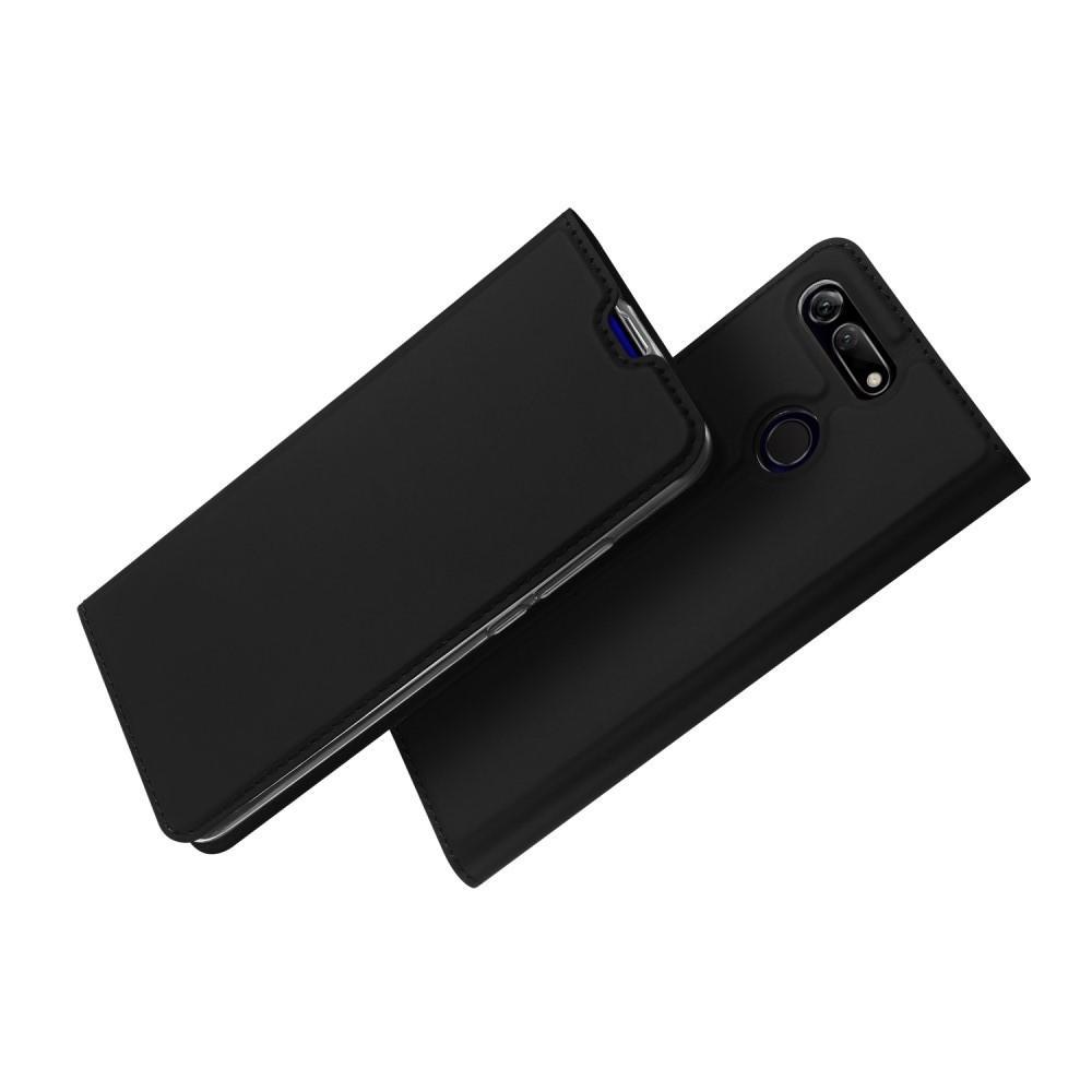 Тонкий Флип Чехол Книжка с Скрытым Магнитом и Отделением для Карты для Huawei Honor View 20 (V20) Черный