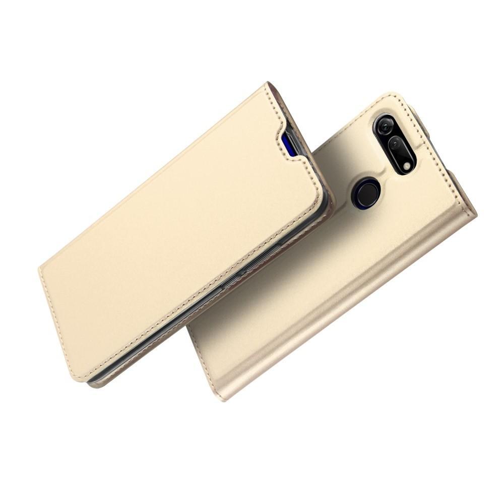 Тонкий Флип Чехол Книжка с Скрытым Магнитом и Отделением для Карты для Huawei Honor View 20 (V20) Золотой