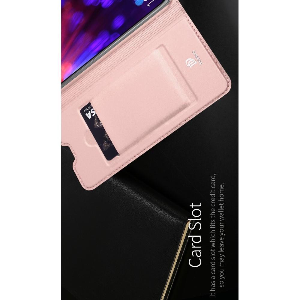 Тонкий Флип Чехол Книжка с Скрытым Магнитом и Отделением для Карты для Huawei Honor View 20 (V20) Розовое Золото